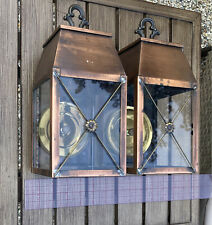 Pair Copper lanterns with brass reflectors. Needs wiring outdoor Wall Sconces