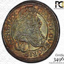 TIED FINEST @ NGC & PCGS MS64 1685 AUSTRIA 6 KREUZER LEOPOLD I VIENNA TONED 6K
