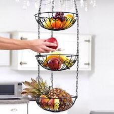 Hanging Fruit Basket Vegetable Storage Organizer 3 Tier, Round, For Kitchen