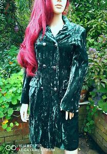 Vintage 80's SIMPSON PICCADILLY Designer Green Velvet Long Jacket Boho UK 10-12