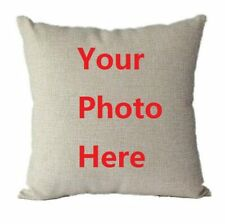Personalised Pillow Case Cover Beige LUXURY Cotton CUSTOM PRINT Photo Durable **