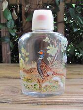 Hip Flask~Glass~Pheasants~Plastic Stopper~Plastic Shot Glass~Vintage