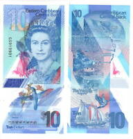 EASTERN EAST CARIBBEAN STATES $10 Dollars UNC Banknote (2019) P-new POLYMER QEII