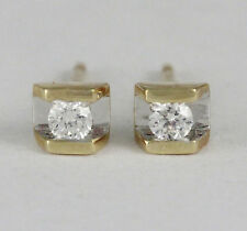 14k Yellow Gold Channel Set Diamond Stud Earrings (new, tdw 0.10ct) #2112*