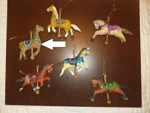 Christmas wooden horses ornament intricate painting detail set of 5