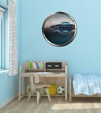 """24"""" Porthole Space Window View ALIEN UFO's #2 SILVER Wall Decal Sticker Graphic"""