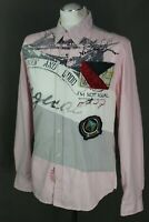 DESIGUAL Mens Pink SLIM FIT Long Sleeved SHIRT - Size Medium M