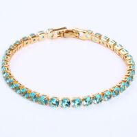 Ultra Slim 4MM Dia Round Cut Swiss Blue Topaz Gems Yellow Gold Women Bracelets