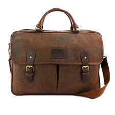 The British Bag Company Waxed Canvas Briefcase (Brown) G27827