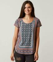 Lucky Brand Women's Medium Top Blouse Multicolor Short Sleeves