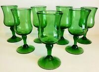Vintage Set Of 7 Handblown Green Glass 8 Oz Wine Glasses