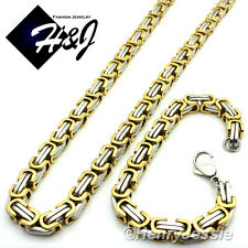 "24""MEN Stainless Steel HEAVY 9mm Gold Silver Box Link Chain Necklace Bracelet"