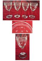 VINTAGE Wine Glasses 8 oz Etched Horizontal Bands Dots Pressed Glass 4-Piece Set