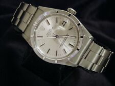 Mens Rolex Date Stainless Steel Watch Silver Dial Oyster Rivet Band Vintage 1501