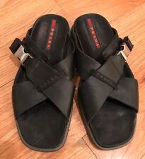 Prada Men's Criss Cross Slip On Leather Slide Sandals Shoes. Black. Size 7.5.