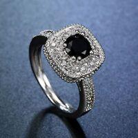 Women Fashion Jewelry 925 Sterling Silver Black Onyx Halo Ring Proposal Jewelry