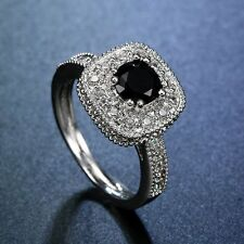 Women Fashion Jewelry 925 Sterling Silver Black Onyx Halo Ring Proposal Jewelry