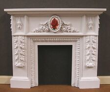 = SALE = CARVED  FIREPLACE ~   Dollhouse Miniature~ Glass Center ~ 1:12  scale
