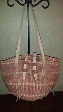 Vintage Sisal Woven Jute Market Bag Basket Leather Strap Boho Rattan