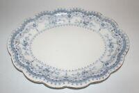 """Johnson Brothers Bros Dorothy 16"""" Oval Serving Platter Flow Blue Gold Trim"""