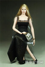 "1/6 Scale Female Clothes Black Long Dress F 12"" Phicen Women Action Figures"