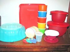 LOT VINTAGE TUPPERWARE~SNACK CUPS~COASTERS~MAGNET~RED STACKING BOWLS & MORE