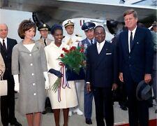 President John F. Kennedy and Jackie arrival Ivory Coast leader New 8x10 Photo
