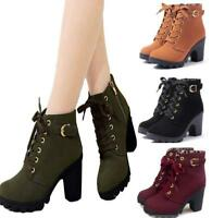 Women Spring Autumn Ankle Boots Chunky High Heels Snow Leather Boots Winter Boot