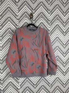 Women Adidas By Stella McCartney Pink Gray Floral Zipper Detail Sweatshirt Sz S