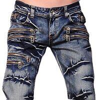 Jeansian Mens Designer Jeans Pants Denim Trouser Zips W30 32 34 36 38 L32 J009