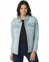Denim & Co. Womens Embroidery Classic Denim Jacket Medium Bleach Wash A353978