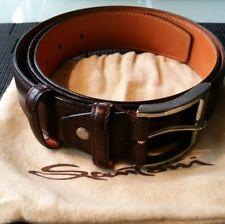 Men's Santoni Dark Brown Leather Belt Made In Italy Size 40 Retail $295