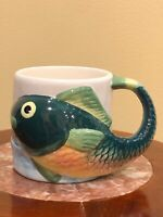 Whimsical Hand painted Fish Cup Mug Green Gold  Tail Handle Multicolored 16 oz