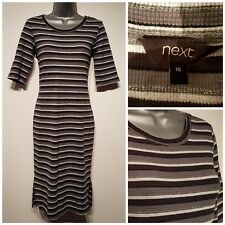 NEXT Size 10 Dress Black/Grey/White/Metallic Silver Bodycon VGC Ladies Stretch