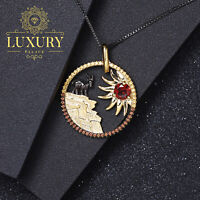 Natural Garnet Handmade 925 Sterling Silver Sunflower Goat Pendant Necklace