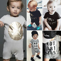 Newborn Baby Boy Clothes Short Sleeve Letter Print Romper Jumpsuit Summer Outfit