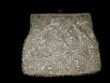 New listing Vintage Magid White Beaded Clutch Purse With Chain Hand Made In Macau