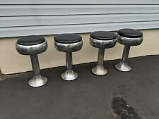 Four (4) Vintage Art Deco Chrome Original Soda Fountain Diner Bar Swivel Stools