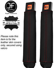 Red Stitching 2X Seat Belt Stalk Leather Covers Fits Jeep Wrangler YJ 87-90