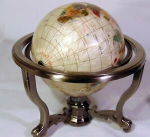 "World Globe Semi Precious Stones Brass Inlaid 13"""
