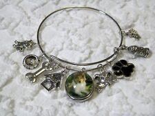 Collie Dog Water Bowl House Pet Paw 18m Snap Charm On Adjustable Bracelet B 637