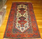 ANTIQUE HAMADAN HAND KNOTTED WOOL RUG   c. 1930