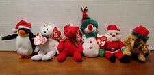 Ty Jingle Beanies set of 6 - Santa, Zero, Mistletoe, Snowdrop, Halo, Jinglepup