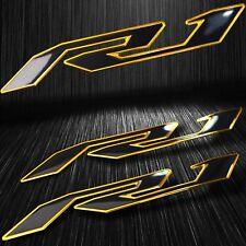 "5-3/4"" Emblem 3D Decal Fender/Fairing Logo Sticker YZF-R1/R1S Black/Chromed Gold"