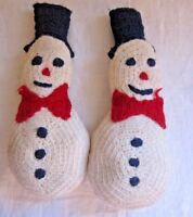 """Vintage Hand Knitted Pair of Snowmen Holiday Christmas Snowman Decor Wool 12"""""""