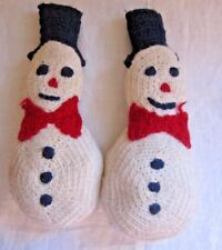 Vintage Hand Knitted Pair of Snowmen Holiday Christmas Snowman Decor Wool 12""