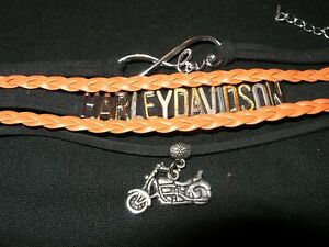 "Harley Davidson Orange & Black Bracelet With Motorcycle & ""LOVE"" Charms"