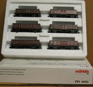 """MARKLIN 46021 HO """"The Young DB"""" car set with 6 High Side Gondolas, excellent"""