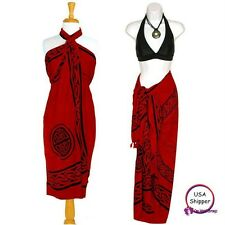 1 World Sarongs Womens Celtic Sarong Unicorn Rose Red Cover-Up Skirt Wrap Dress