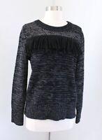 NWT $98 Banana Republic Black Gray Knit Fringe Pullover Sweater Wool Alpaca XS